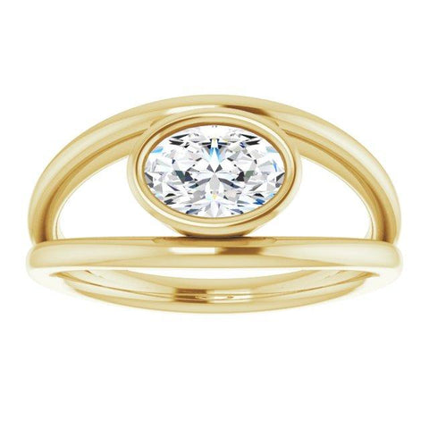 Bezel Set Solitaire Ring With Oval Mounting - Moijey Fine Jewelry and Diamonds