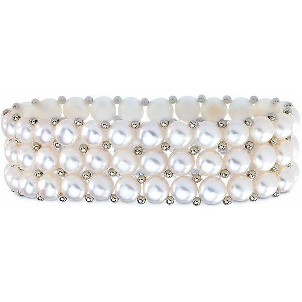 Sterling Silver 3 Row Freshwater Cultured White Pearl Stretch Bracelet