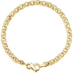14K Yellow Solid Double Link Charm Bracelet - Moijey Fine Jewelry and Diamonds