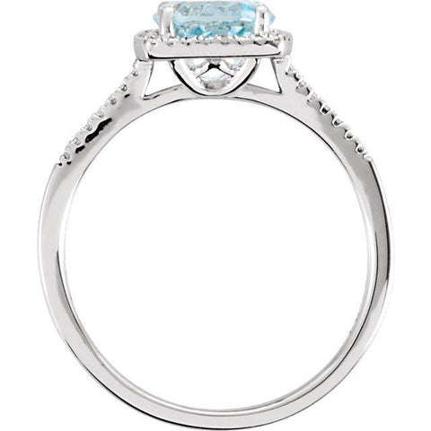 halo diamond ring with sky blue topaz | sterling silver blue topaz ring  | sky blue topaz & diamond halo ring