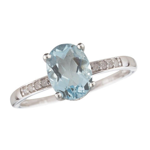 14k White Gold Diamond and Swiss Blue Topaz