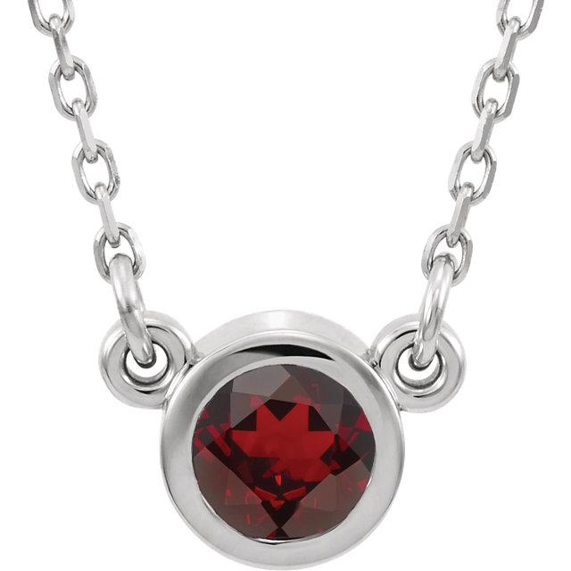 Bezel-Set Mozambique Garnet Necklace (4mm)