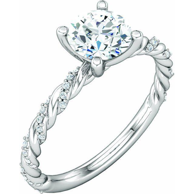 Pave Twist Style Engagement Ring