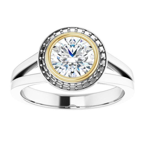 White and Yellow Gold Bezel Halo Engagement Ring - Moijey Fine Jewelry and Diamonds