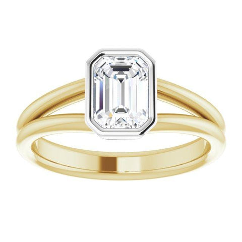 14k yellow and white 7x5 mm emerald cut engagement ring - Moijey Fine Jewelry and Diamonds