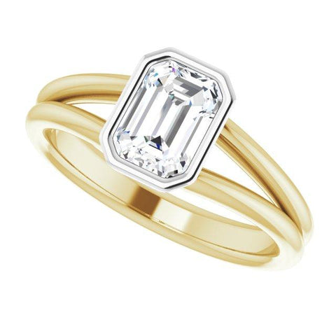 14k yelllow and white 7x5 mm emerald cut engagement ring - Moijey Fine Jewelry and Diamonds