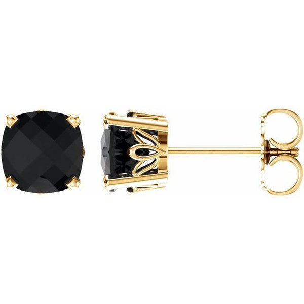 Black Onyx Earrings in 14K.Yellow Gold