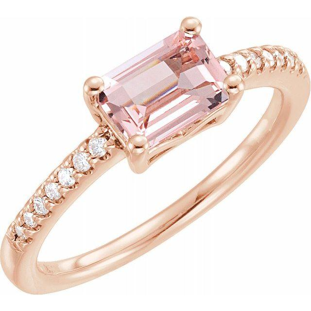 East-West Morganite & 1/10 CTW Diamond Ring