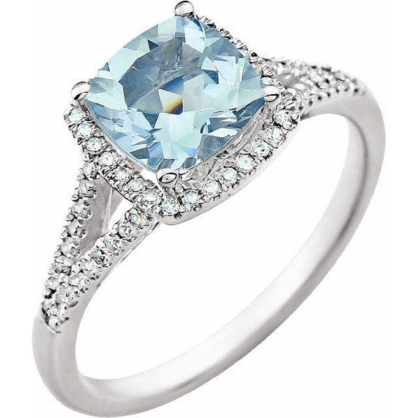 Aquamarine & Diamond Dinner Ring