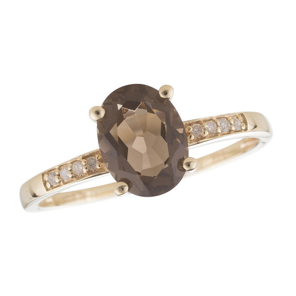 14k Yellow Gold Diamond and Smoky Quartz Ring
