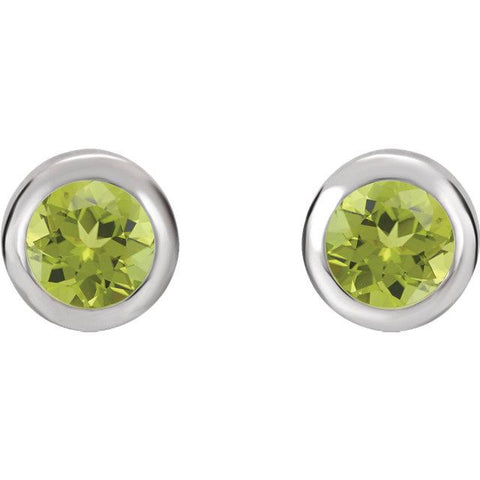 Bezel-Set Peridot Stud Earrings (4mm) - Moijey Fine Jewelry and Diamonds