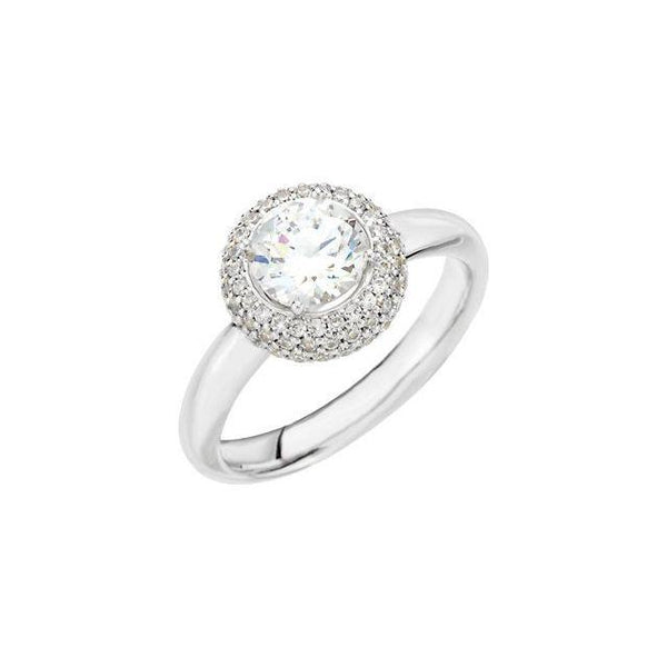 Pave Halo Engagement Ring Setting - Moijey Fine Jewelry and Diamonds