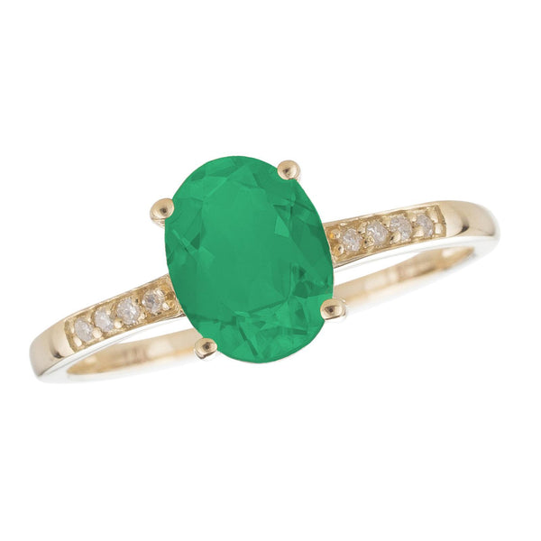 14k Yellow Gold and Diamond Emerald Ring