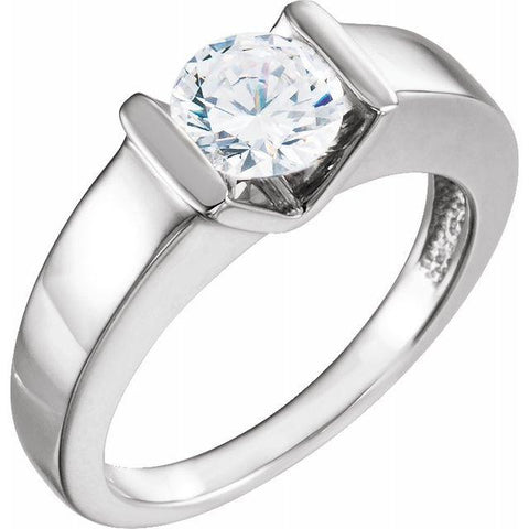 Round Solitaire Bar-Set Engagement Ring Setting