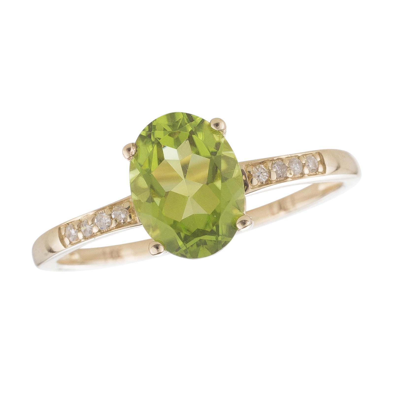 14k Yellow Gold Diamond and Peridot Ring