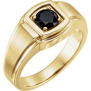 Men's Solitaire Onyx Ring