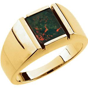 Gentleman's 14K Yellow Gold Bloodstone Ring