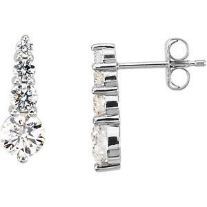 1 CTW Platinum Diamond Journey Earrings