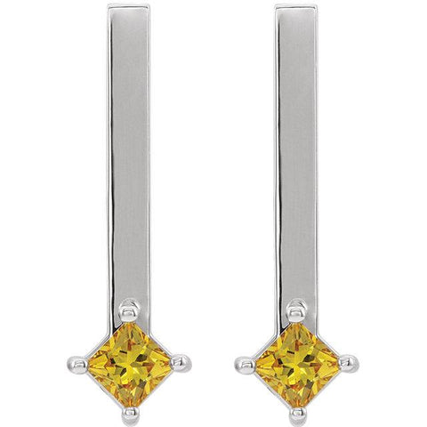 Yellow Sapphire Bar Drop Earrings - Moijey Fine Jewelry and Diamonds
