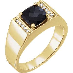 Men's Onyx & 1/10 CTW Diamond Ring - Moijey Fine Jewelry and Diamonds