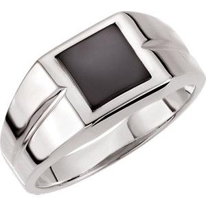 Sterling Silver Onyx Ring | Men's Genuine Onyx Ring | Men's Square Onyx Ring