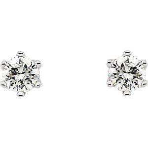 1/5-1/3CTW 14kt Gold 6-Prong Round Diamond Stud Earrings with Friction Backs