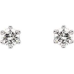 14K Gold 6-Prong Round Diamond Stud Earrings with Friction Backs