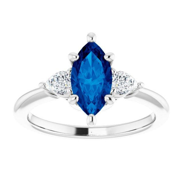 Marquise and Pear-Shaped Three-Stone Diamond Ring Setting