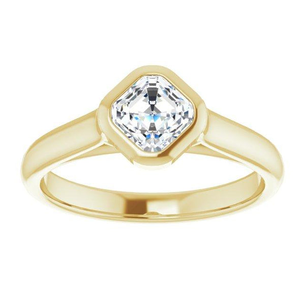 14K Yellow Gold Asscher Bezel Set Engagement Ring