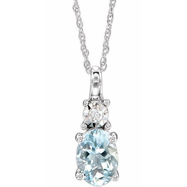 "14K White Aquamarine & .02 CTW Diamond 18"" Necklace"