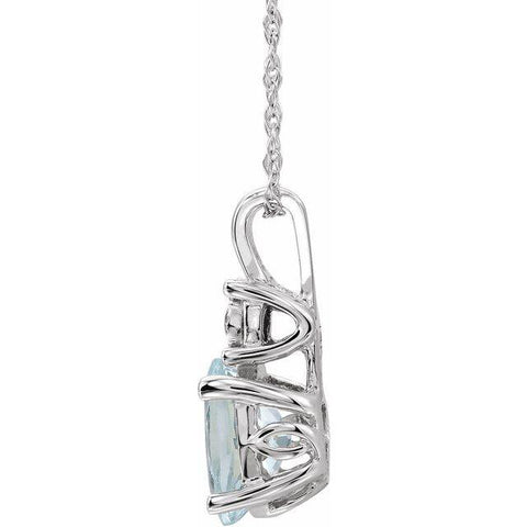 "14K White Aquamarine & .02 CTW Diamond 18"" Necklace - Moijey Fine Jewelry and Diamonds"
