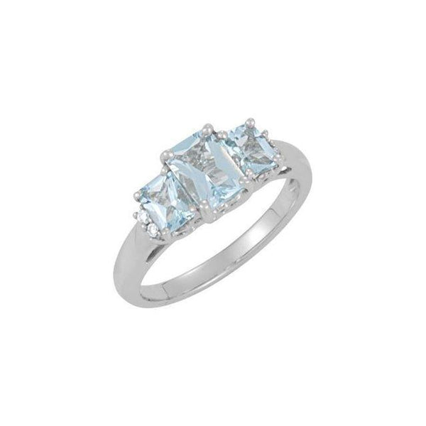 14K White Gold Aquamarine & .05 CTW Diamond Ring