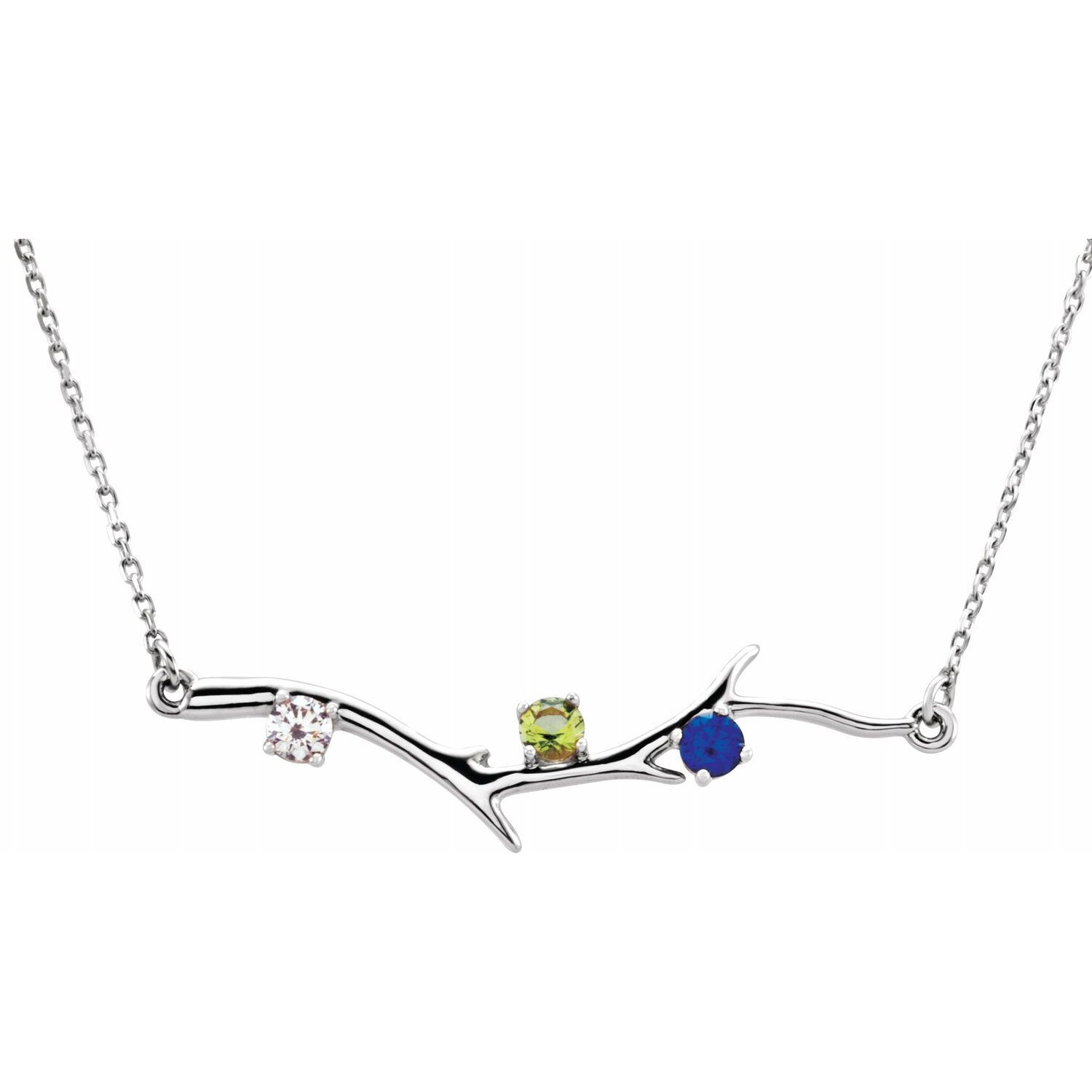 14K.Three stones family branch necklace
