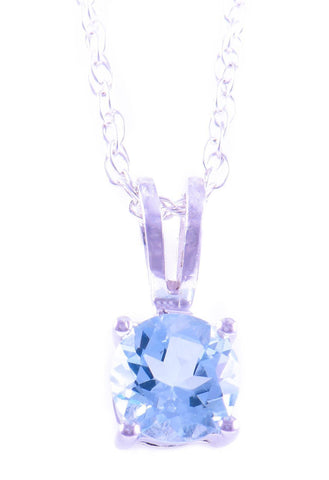 14k White Gold Aquamarine Pendant With Chain