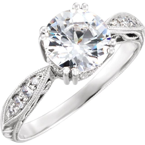 14kt White Gold 1/8CTW Diamond Semi Mount 5.8mm Center - Moijey Fine Jewelry and Diamonds