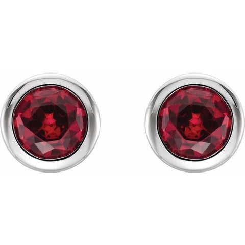 Bezel-Set Ruby Stud Earrings
