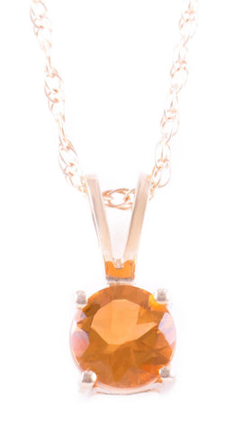 14k Yellow Gold Citrine Pendant with Chain