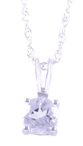 14k White Gold White Topaz Pendant with chain