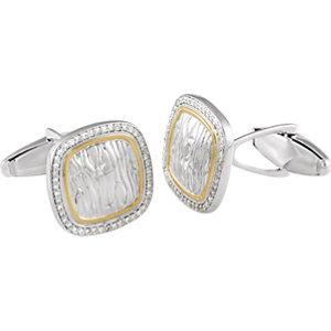 Sterling Silver & 14K Yellow 1/2 CTW Diamond Elephant Print Cuff Links - Moijey Fine Jewelry and Diamonds