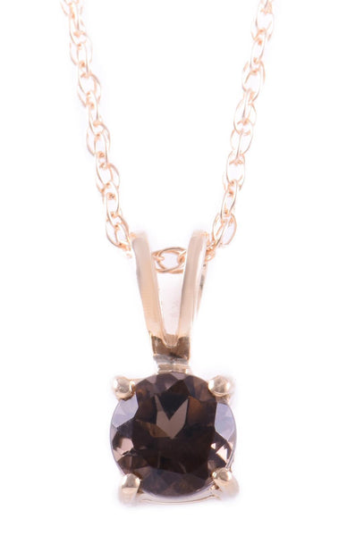 14k Yellow Gold Smoky Quartz Pendant with Chain