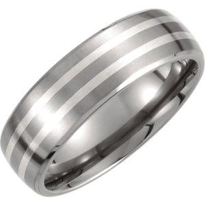Titanium & Sterling Silver Inlay 7mm Satin Finish Band - Moijey Fine Jewelry and Diamonds
