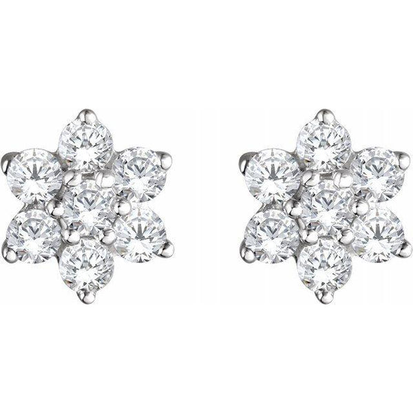 14K 3/8 CTW Diamond Flower Earrings