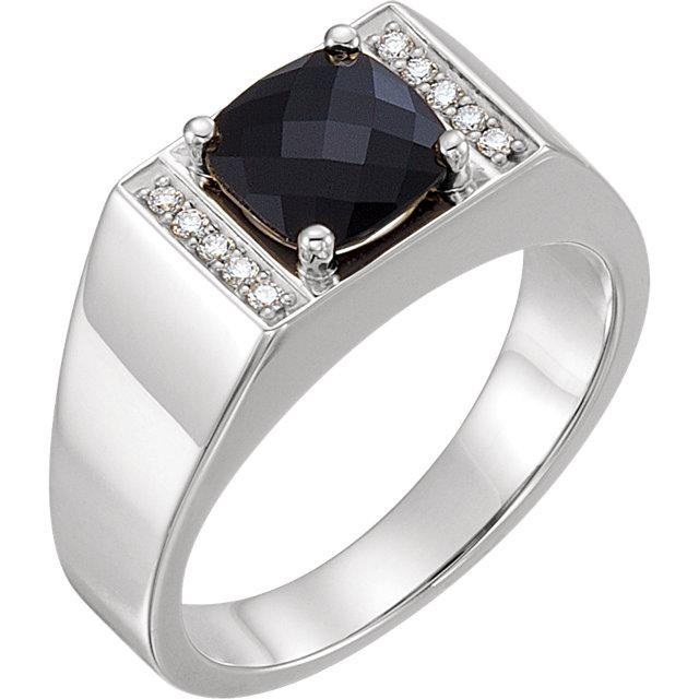 Men's Onyx & 1/10 CTW Diamond Ring