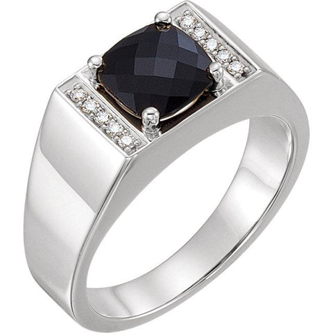 Men's Onyx Diamond Ring | Onyx Wedding Ring for Men | Diamond Ring