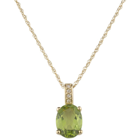 14k Yellow Gold Diamond and Peridot Pendant with Chain
