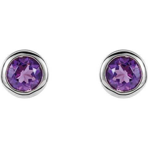 Bezel-Set Amethyst Stud Earrings - Moijey Fine Jewelry and Diamonds