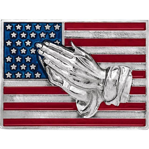 14K Red, White and Blue Praying Hands Lapel Pin