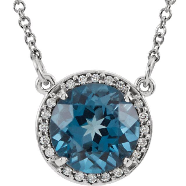 "Round London Blue Topaz & .04 CTW Diamond Halo 16"" Necklace"