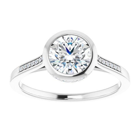 Bezel Round Set Accented Halo engagement ring - Moijey Fine Jewelry and Diamonds