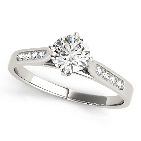 Floral Compass-Point Channel-Set Engagement Ring Setting (6.5mm) - Moijey Fine Jewelry and Diamonds